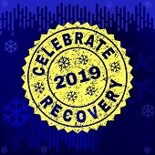 Grunge Round Celebrate Recovery Rosette Stamp Seal For 2019 Winter. Vector Celebrate Recovery Rubber poster