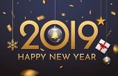 2019 New Year Shining Background With Ball. Happy New Year 2019 Celebration Decoration Poster, Festi poster