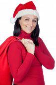 Постер, плакат: Красивая девушка Рождество мешок на более на белом фоне
