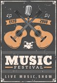 Music Festival Musical Instruments, Guitar, Drum Set, Retro Microphone And Notes. Live Music Show An poster