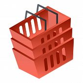 Red Shop Basket Icon. Isometric Of Red Shop Basket Vector Icon For Web Design Isolated On White Back poster