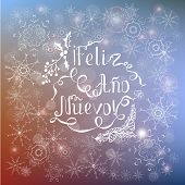 White Lettering Feliz Ao Nuevo, Means Happy New Year In Spanish Language On Blur Blue Background, Ty poster
