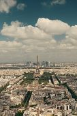 Paris rooftop view panorama with Eiffel Tower and city skyline. poster