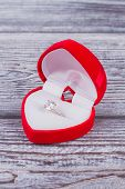 Heart Shaped Velvet Wedding Ring Box. Red Velvet Jewelry Gift Box In A Shape Of A Heart With Gold En poster