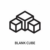 Blank Cube Icon Isolated On White Background. Blank Cube Icon Simple Sign. Blank Cube Icon Trendy An poster