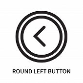 Round Left Button Icon Isolated On White Background. Round Left Button Icon Simple Sign. Round Left  poster