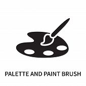 Palette And Paint Brush Icon Isolated On White Background. Palette And Paint Brush Icon Simple Sign. poster