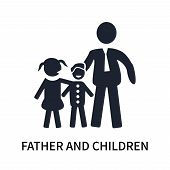 Father And Children Icon Isolated On White Background. Father And Children Icon Simple Sign. Father  poster