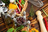 Fresh Vegetable Background And Seasoning For Food Preparation. Ingredient For Preparation Vegetarian poster