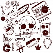 Set Of Rap Music Icons. Black Isolated Hip Hop Icon Set Attributes And Accessories To Create A Hip H poster