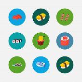 Sushi Icons Set. Sashimi And Sushi Icons With Fish, Sushi Set And Tamago Nigiri. Set Of Nutrient For poster