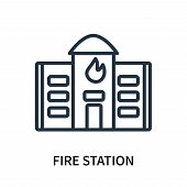 Fire Station Icon Isolated On White Background. Fire Station Icon Simple Sign. Fire Station Icon Tre poster