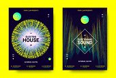 Electronic Sound Poster. Techno Music Festival Promotion. Vector Wave Amplitude Design. Wave Poster  poster