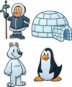 Cute cartoon Inuit, igloo, polar bear and penguin. Vector illustration with simple gradients. Each i