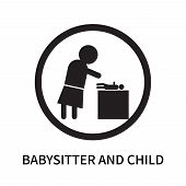 Babysitter And Child Icon Isolated On White Background. Babysitter And Child Icon Simple Sign. Babys poster