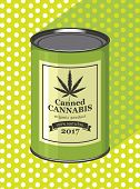 Vector Banner For Legalized Marijuana With Tin Can Of Canned Cannabis On A Green Background With Pol poster