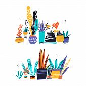 House Plants Color Hand Drawn Illustrations. Home Decorations And Interior Design Elements. House Pl poster