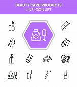 Beauty Care Products Line Icon Set. Lipstick, Nail Polish, Cream, Mascara. Cosmetology Concept. Can  poster