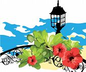Marine. Flowers, Leaves, Lantern and Fencing Against the Sea