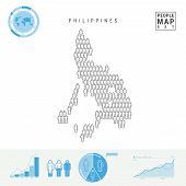 Philippines People Icon Map. People Crowd In The Shape Of A Map Of Philippines. Stylized Silhouette  poster