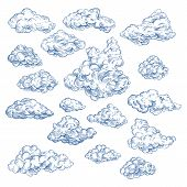 Sky Sketch With Isolated Cumulus White Clouds. Spring Air Or Summer Heaven. Fluffy Vapor At Cloudsca poster