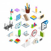 College House Icons Set. Isometric Set Of 25 College Icons For Web Isolated On White Background poster
