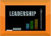 leadership word in white chalk on a blackboard - illustration