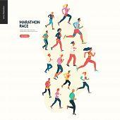 Marathon Race Group - Flat Modern Vector Concept Illustration Of Running Men And Women Wearing Winte poster