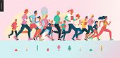 Marathon Race Group - Flat Modern Vector Concept Illustration Of Running Men And Women Wearing Winte poster
