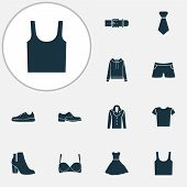 Dress Icons Set With Evening Gown, Gumshoes, Male Footwear And Other Sundress Elements. Isolated Vec poster