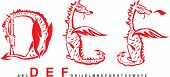 Serie del alfabeto de dragones, letras DEF, fuente de fantasía dragón