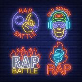 Rap Neon Signs Set With Flames And Microphones. Rap Battle Advertisement Design. Night Bright Neon S poster