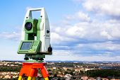 Survey Instrument Geodetic Device, Total Station, Close Up. poster