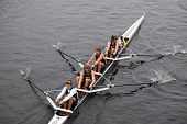 University of California Berkley Mens Fours races in the Head of Charles Regatta
