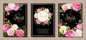 Set Of Three Floral Backgrounds With Blooming Flowers Of Pink And Light Yellow Peonies, Lovely Roses poster