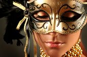 pic of masquerade mask  - beautiful woman in mysterious mask - JPG
