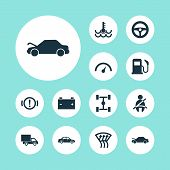 Automobile Icons Set With Speedometer, Windscreen Defrost, Van And Other Optimization Elements. Isol poster