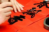 hand writing on couplet,Chinese new year decorations.