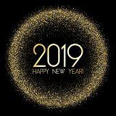 2019 Happy New Year Card, Chic Gold Confetti. Foil Texture Gold Glitter Confetti Sparkles Backdrop,  poster