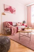 Abstract Pink And Burgundy Painting On The Empty Wall Of Trendy Native Colors Interior With Stylish poster