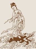 Vector of Chinese Traditional artistic pattern--The Guanyin Bodhisattva is fighting against the turtle.