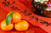 Closeup of Orange,Spring Festival Couplets and Candy Box.