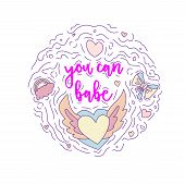 Doodle Motivation Text - You Can Babe In Round Form Colored. Cute Fun Vector Motivation Quote With W poster