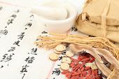 Ingredients for a Chinese medicine formula - Chinese characters are names for the herbs in the formu