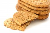 Whole Grain Biscuits On White Background