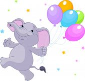 Happy Very Cute baby elephant with balloons