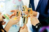 Celebration. Hands Holding The Glasses Of Champagne And Wine Making A Toast. The Party, Alcohol, Lif poster