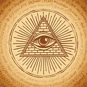 Vector Banner With Eye Of Providence. All-seeing Eye Inside Triangle Pyramid. Symbol Omniscience. Lu poster