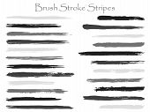 Trendy Ink Black Brush Stroke Stripes Vector Set, Horizontal Marker Or Paintbrush Lines Patch. Hand  poster