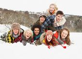 picture of winter scene  - Group Of Teenage Friends Having Fun In Snowy Landscape - JPG